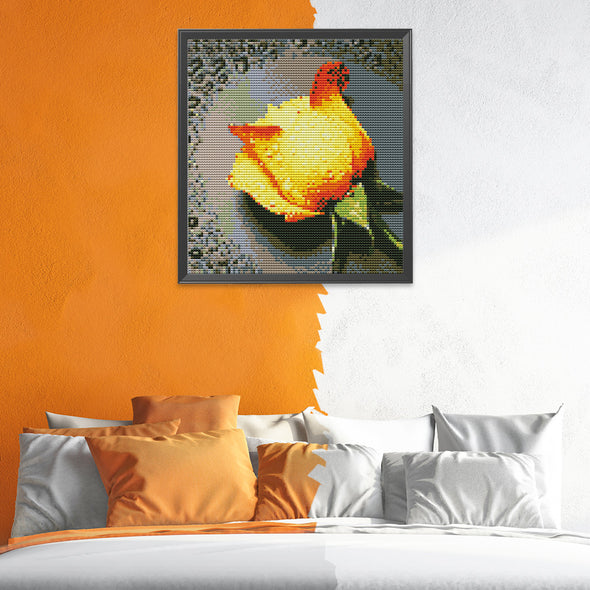 Yellow rose in the grid - 11CT Stamped Cross Stitch - 28*30cm