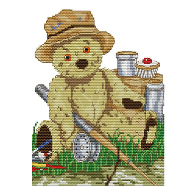 Bear Fishing - 14CT Stamped Cross Stitch - 21x28cm