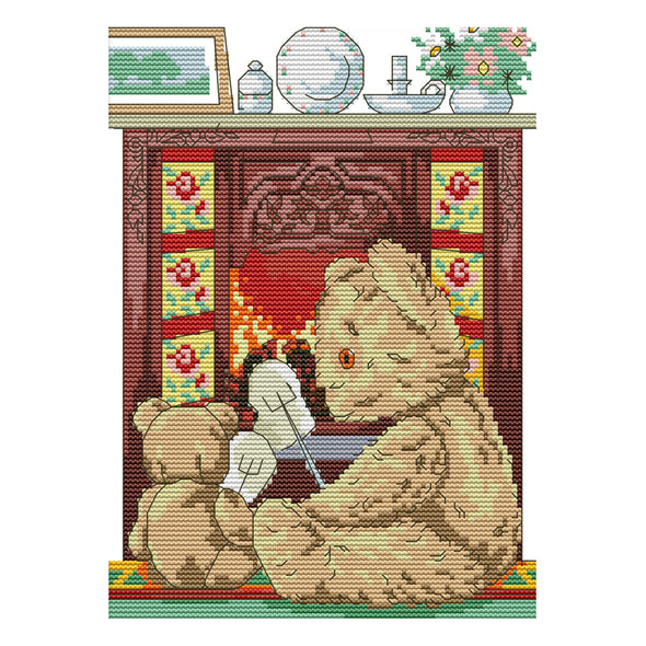 Mother Bear And Little Bear - 14CT Stamped Cross Stitch - 21x30cm