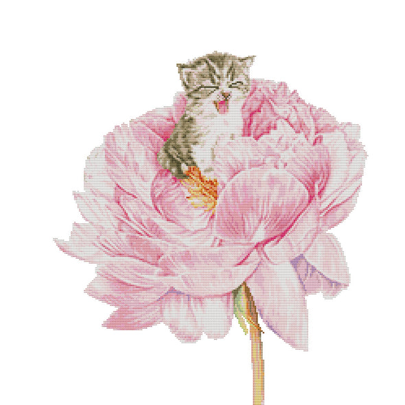 Cat in the Flower - 14CT Stamped Cross Stitch - 53*46cm