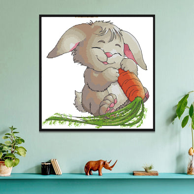 Rabbit and carrot - 14CT Stamped Cross Stitch - 31*31cm