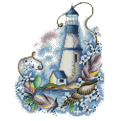 Blue lighthouse - 14CT Stamped Cross Stitch - 22*29cm