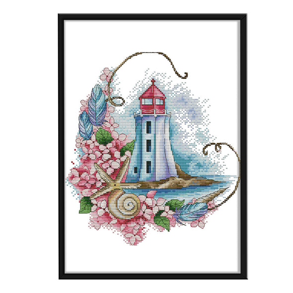 Starfish lighthouse - 14CT Stamped Cross Stitch - 28*31cm