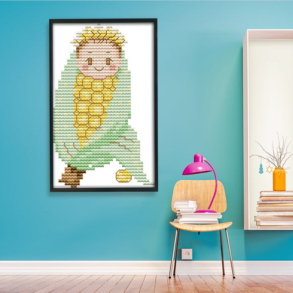 Corn - 14CT Stamped Cross Stitch - 15x9cm