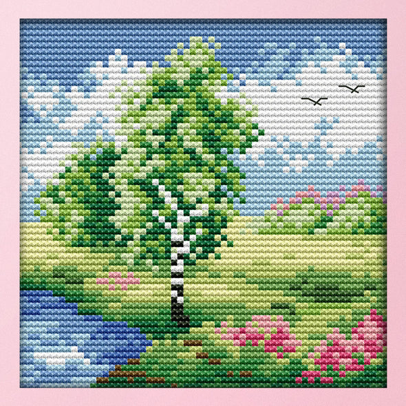Countryside Four Seasons Spring - 14CT Stamped Cross Stitch - 16*16cm