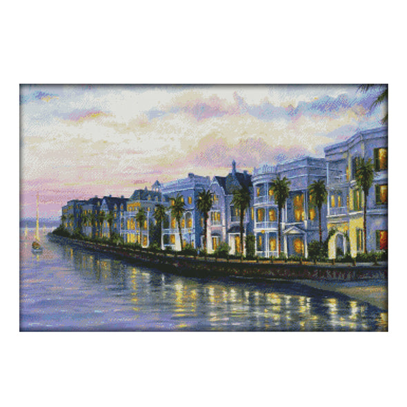 Night view of seaside villa - 14CT Stamped Cross Stitch - 71*51cm