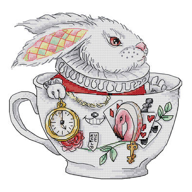 Teacup Rabbit - 14CT Stamped Cross Stitch - 26x26cm