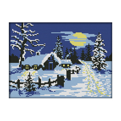 Red Sun Snow Scene - 14CT Stamped Cross Stitch - 29x21cm