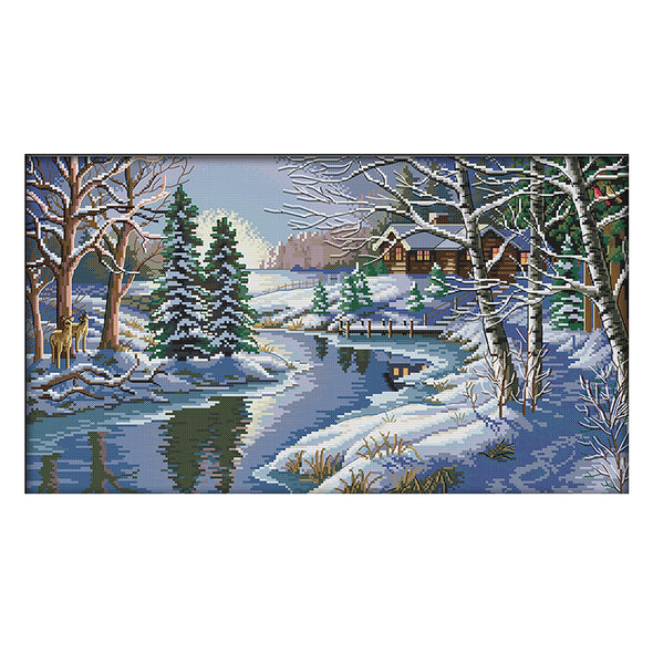 Snow Scene - 14CT Stamped Cross Stitch - 55x34cm