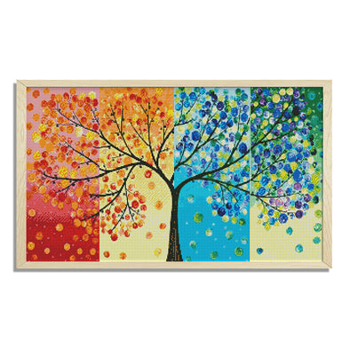 Four Seasons Fortune Tree - 14CT Stamped Cross Stitch - 64*41cm