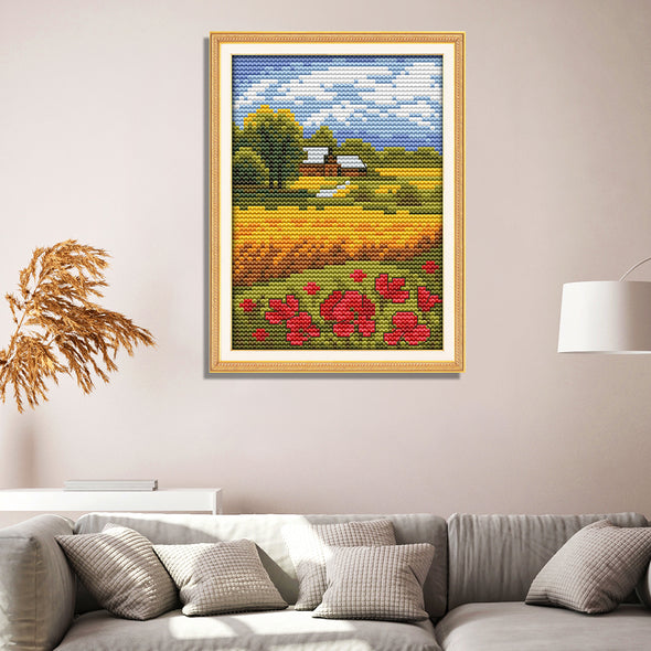 Beautiful field - 14CT Stamped Cross Stitch - 14*17cm