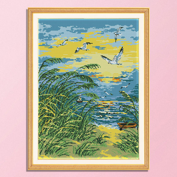 Sunrise by the sea - 14CT Stamped Cross Stitch - 41*52cm