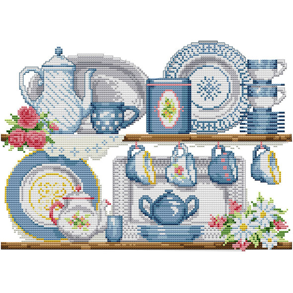 Porcelain - 14CT Stamped Cross Stitch - 36x28cm