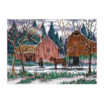 Snow day - 14CT Stamped Cross Stitch - 42*32cm