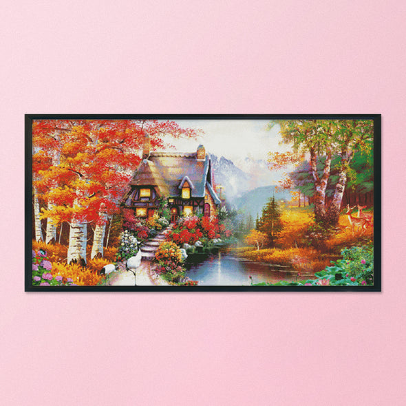 Dream house - 14CT Stamped Cross Stitch - 128*67cm