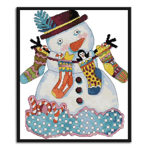 Christmas Snowman - 14CT Stamped Cross Stitch - 35x40cm