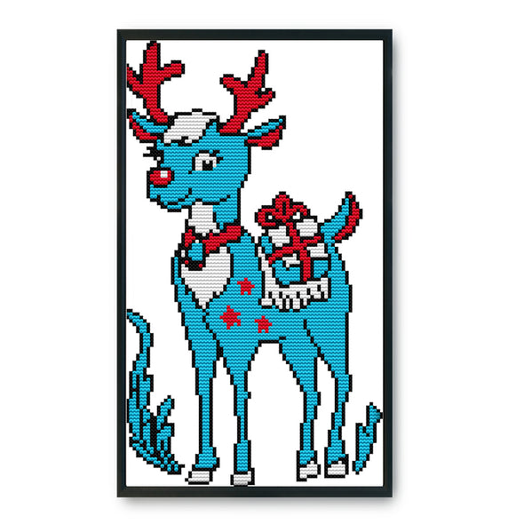 Christmas Elk - 14CT Stamped Cross Stitch - 18x31cm