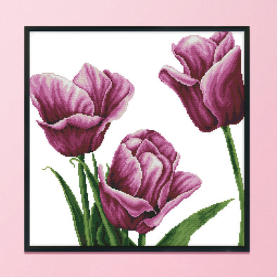 Purple tulip - 14CT Stamped Cross Stitch - 45*44cm