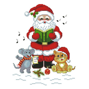 Santa Claus And Cat Mouse - 14CT Stamped Cross Stitch - 24x28cm