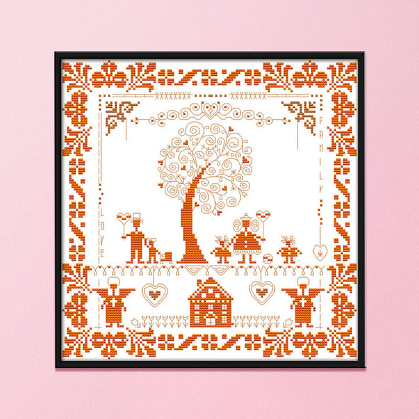 Happiness Tree - 14CT Stamped Cross Stitch - 31x31cm