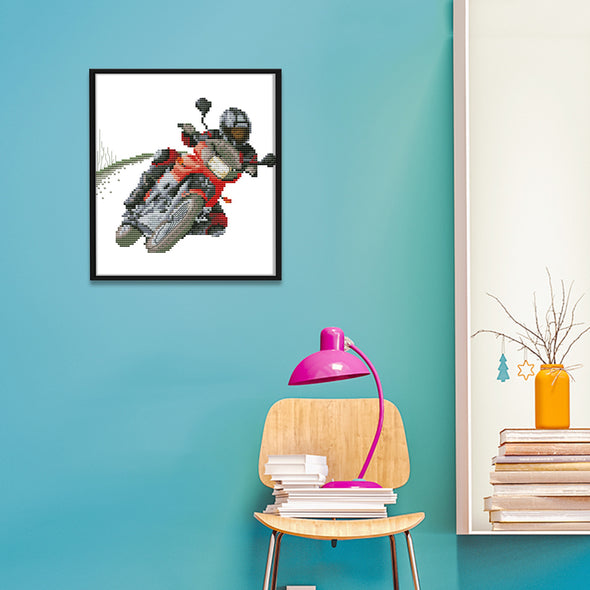 Racing motorcycle - 14CT Stamped Cross Stitch - 22*19cm
