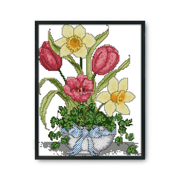 Spring vase - 14CT Stamped Cross Stitch - 22*30cm