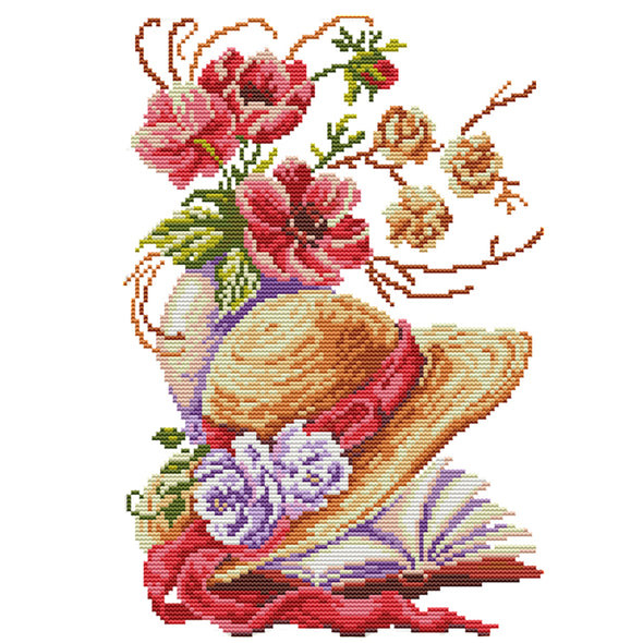 Poppy Hat - 14CT Stamped Cross Stitch - 35x26cm