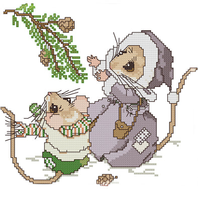 Christmas Mouse - 14CT Stamped Cross Stitch - 26x22cm