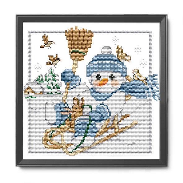 Christmas Snowman - 14CT Stamped Cross Stitch - 27x25cm