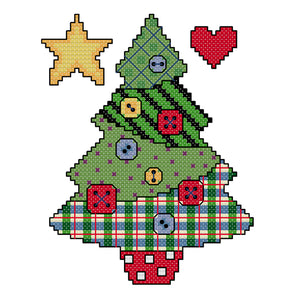 Buttoned Christmas Tree - 14CT Stamped Cross Stitch - 14x17cm