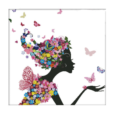 Woman In Flowers - 14CT Stamped Cross Stitch - 71x71cm