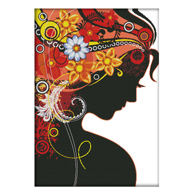 Woman In Flowers - 14CT Stamped Cross Stitch - 77x56cm