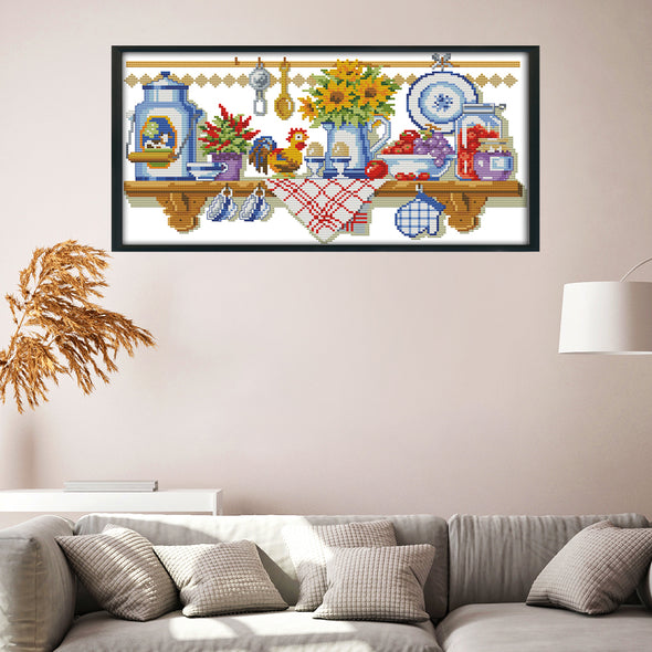 Corner of the kitchen - 14CT Stamped Cross Stitch - 40*22cm