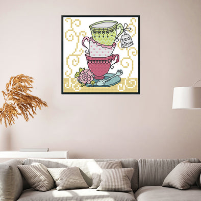 cup - 14CT Stamped Cross Stitch - 15*14cm