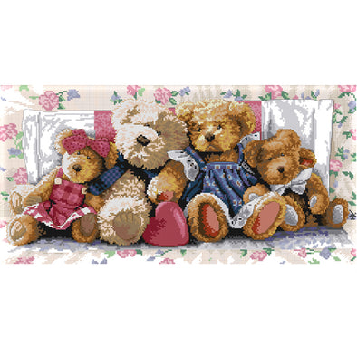 Little Bear Family - 14CT Stamped Cross Stitch - 54x31cm