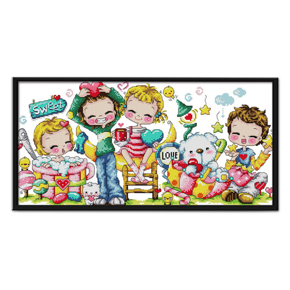 Sweet - 14CT Stamped Cross Stitch - 53x29cm