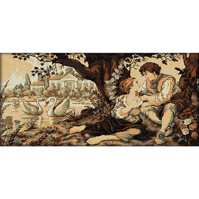Couple By The Swan Lake - 14CT Stamped Cross Stitch - 96x57cm