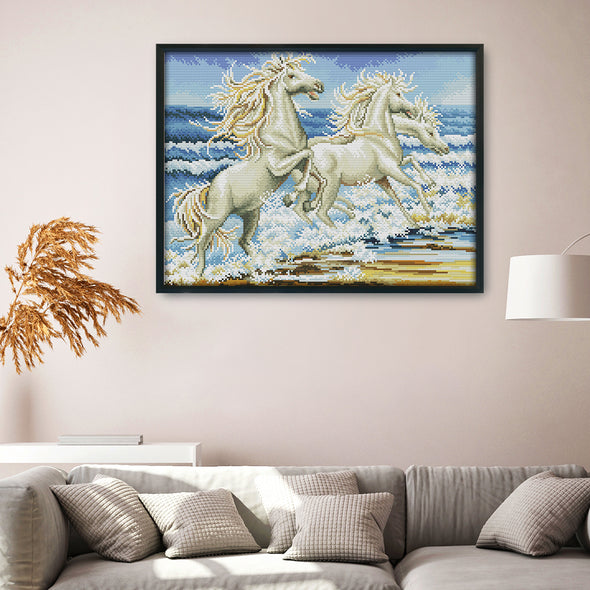 White Horse - 14CT Stamped Cross Stitch - 42x33cm