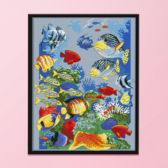 Tropical Fish - 11CT Stamped Cross Stitch - 43x54cm