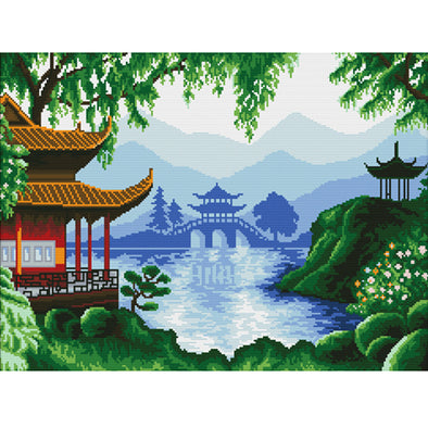 Chinese Pavilion - 11CT Stamped Cross Stitch - 63x49cm