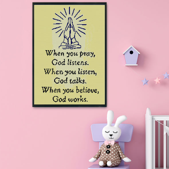 God Bless Us - 14CT Stamped Cross Stitch - 35x47cm
