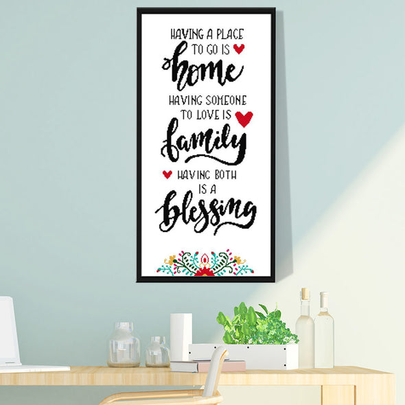Happy Home - 14CT Stamped Cross Stitch - 35x64cm
