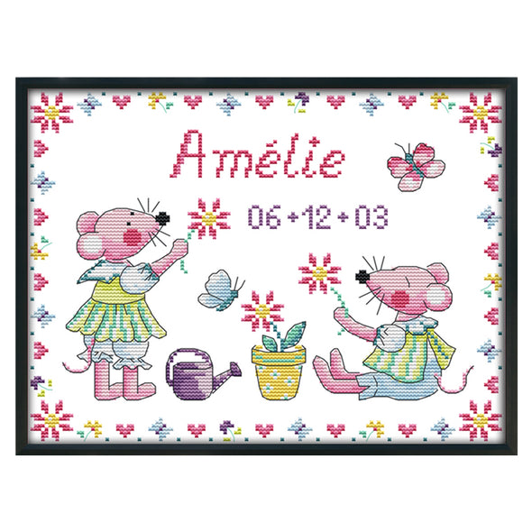Beautiful Mouse - 14CT Stamped Cross Stitch - 33x26cm