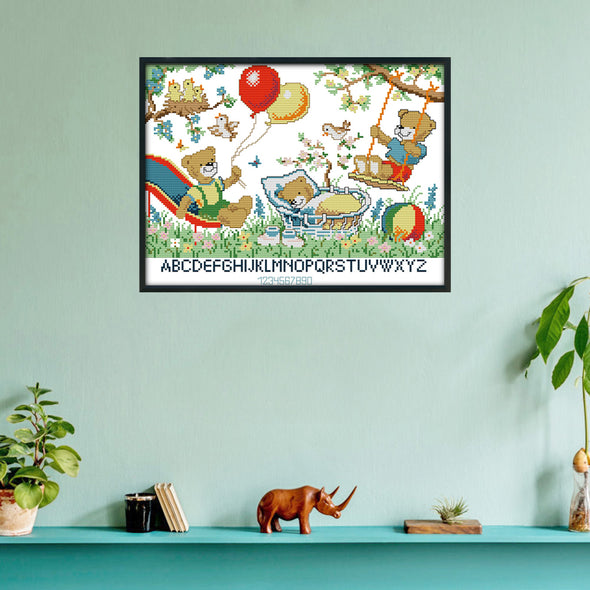 Little Bear Paradise - 14CT Stamped Cross Stitch - 37x30cm