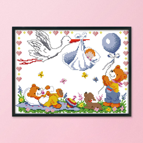 Angel Baby Is Coming - 14CT Stamped Cross Stitch - 34x27cm