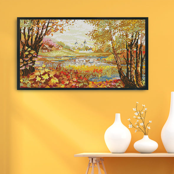 Lakeside View - 14CT Stamped Cross Stitch - 50x30cm