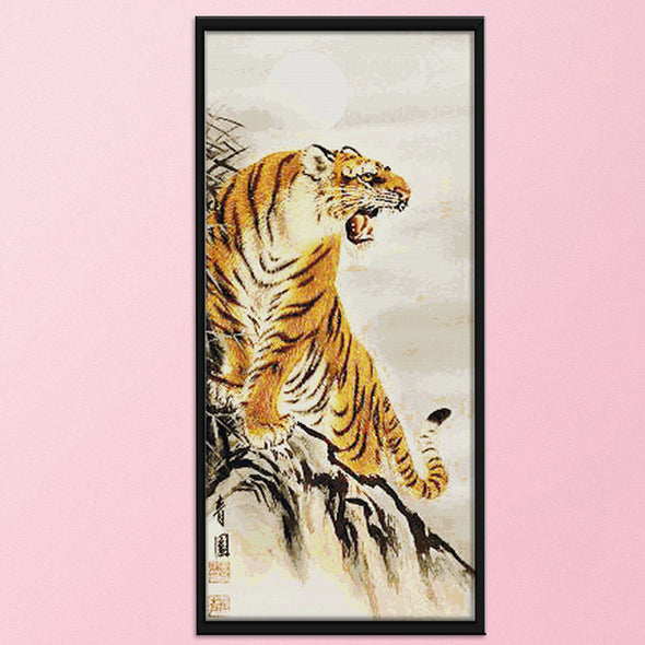 Mountain Tiger - 14CT Stamped Cross Stitch - 44x82cm
