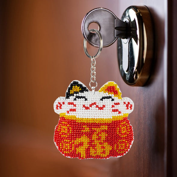 Red Lucky Cat - Bead Embroidery - Keychain