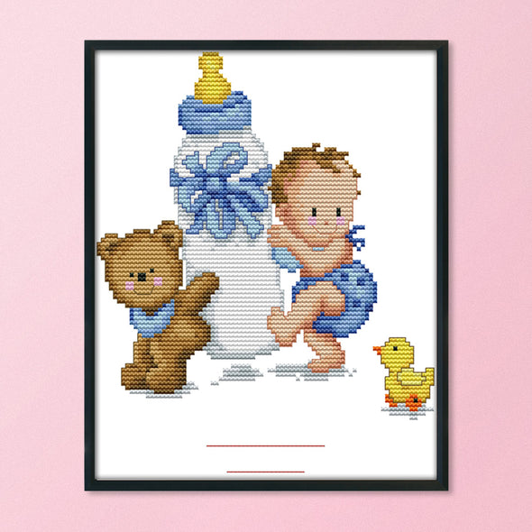 Baby Bottle - 14CT Stamped Cross Stitch - 25x20cm