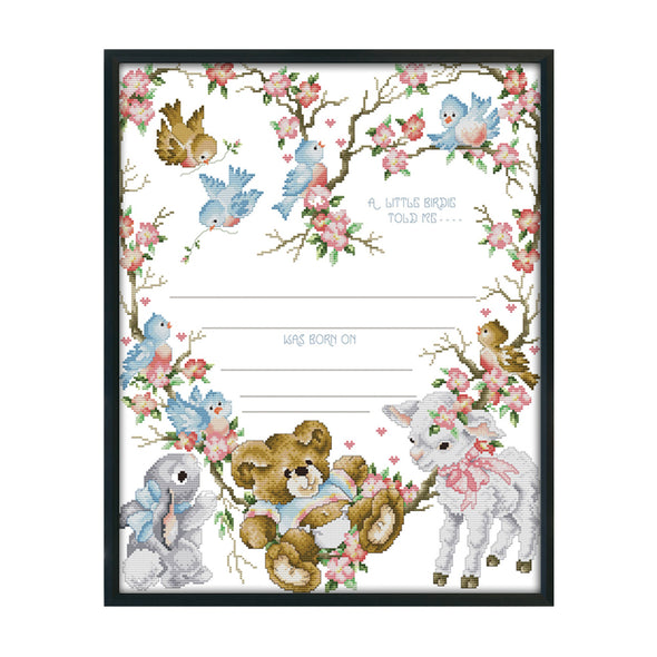 Birth Certificate - 14CT Stamped Cross Stitch - 52x44cm
